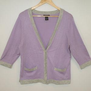 NY&Co. 3/4 Sleeve Lilac/Gray Cardigan Sweater